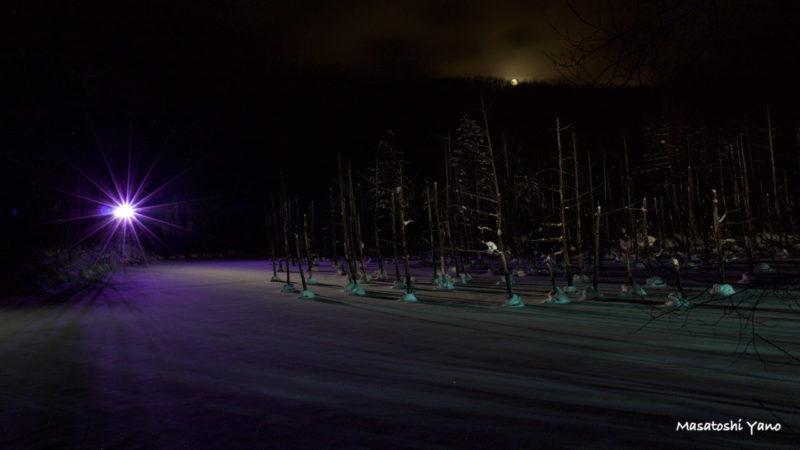 青い池のライトアップと月