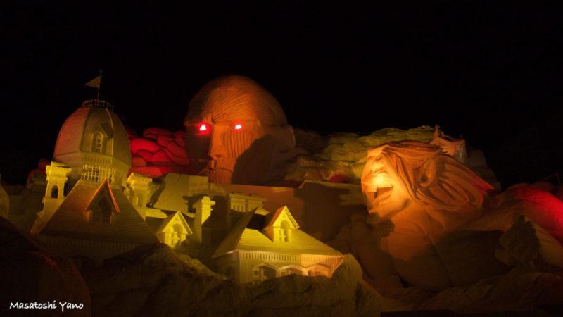 札幌雪まつり、進撃の巨人の雪像