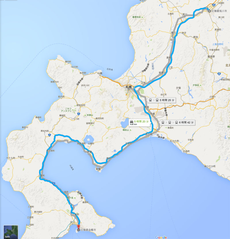 旭川から苫小牧を経由して函館まで行くルート