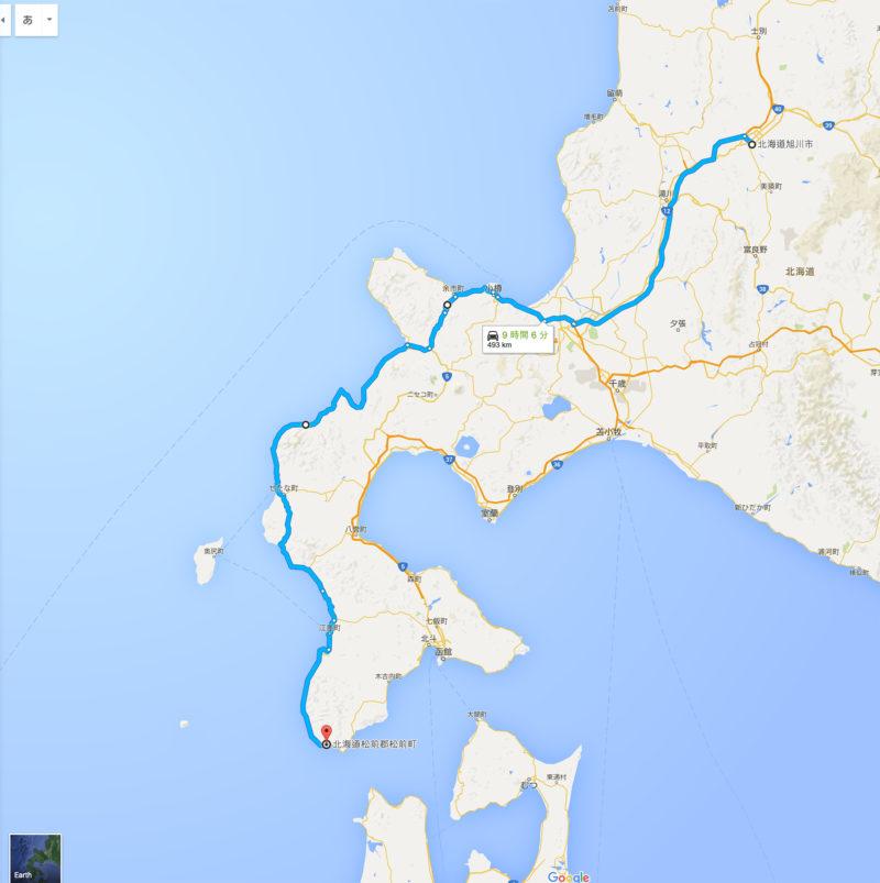 旭川から小樽を経由して松前町まで行くルート