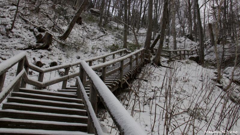 層雲峡、冬の登山道