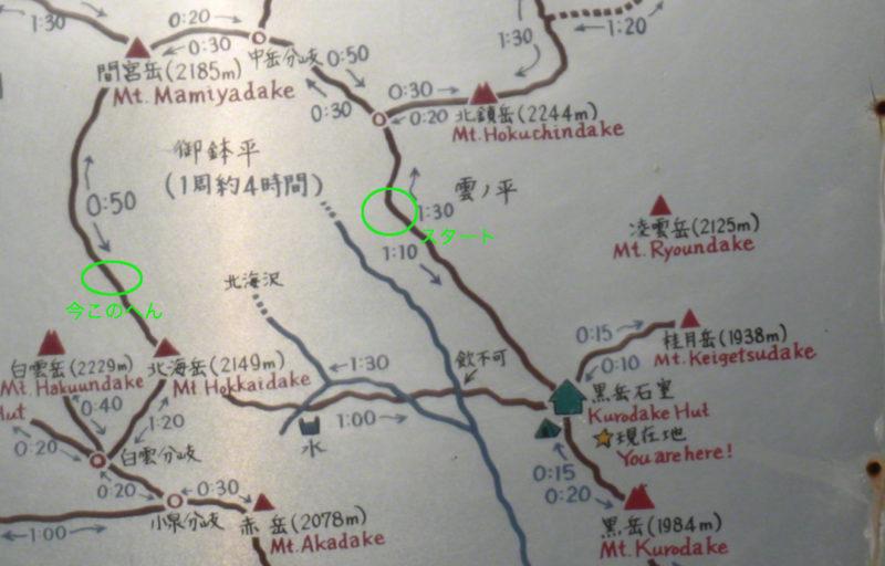 大雪山お鉢平のルートマップ現在地