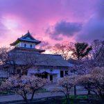 夕焼けの松前城